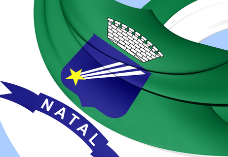 natal: Flag of Natal, Brazil. Close Up. Stock Photo