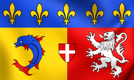 blason: Flag of Rhone-Alpes, France. Close Up.