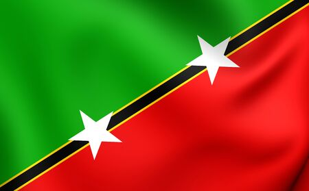 federation: Federation of Saint Kitts and Nevis Flag. Close Up.