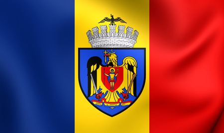Flag of Bucharest, Romania. Close Up.