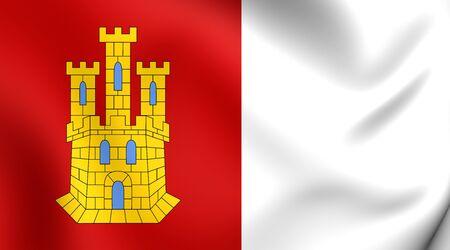 castilla: Flag of Castile-La Mancha, Spain. Close Up.