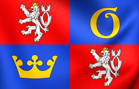 Flag of Hradec Kralove Region, Czech Republic. Close Up. photo