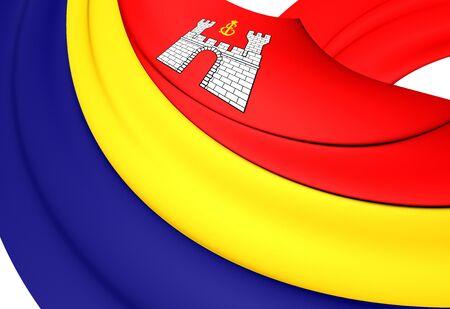 oblast: Flag of Kaliningrad Oblast, Russia. Close Up.