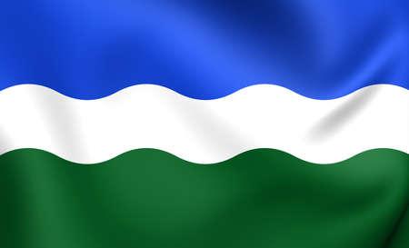 limburg: Flag of Nederweert, Netherlands. Close Up.