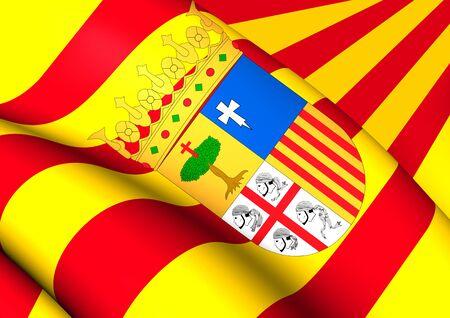 spainish: Flag of Aragon, Spain. Close Up. Stock Photo