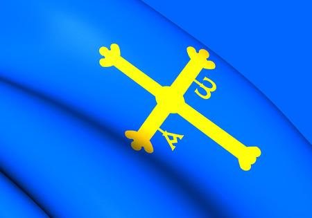 spainish: Principality of Asturias Flag, Spain. Close Up. Stock Photo