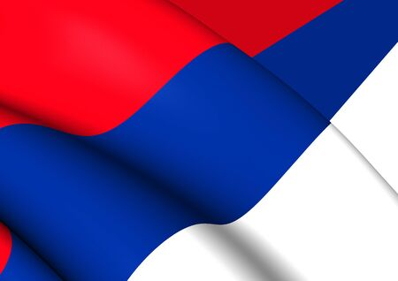 Civil Flag of Serbia. Close Up. photo