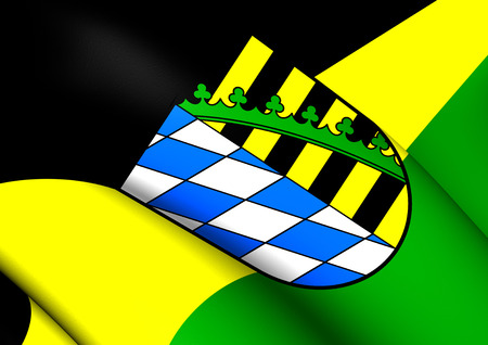 district': Flag of Coburg District, Germany. Close Up. Stock Photo