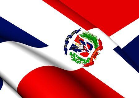 dominican republic: Flag of Dominican Republic. Close Up.