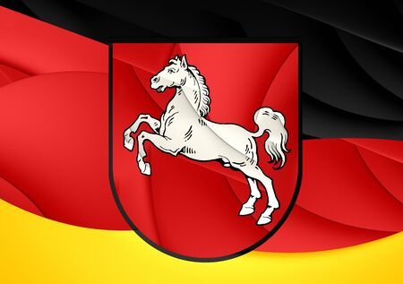 lower: Flag of Lower Saxony, Germany. Close Up.