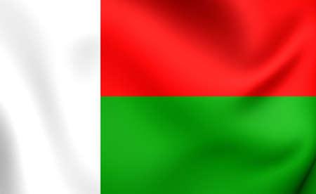 madagascar: Flag of Madagascar. Close Up.