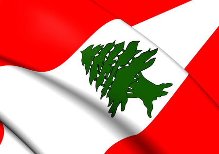 lebanon: Flag of Lebanon. Close Up. Stock Photo