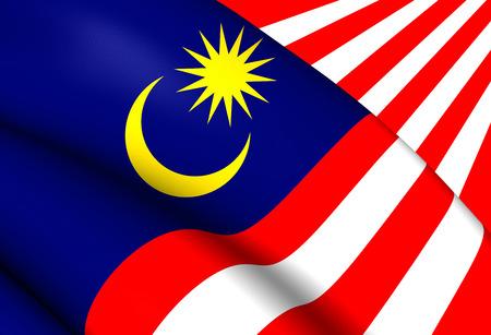 3d flag: Flag of Malaysia. Close Up.