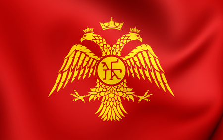 dynasty: Byzantine Eagle, Flag of Palaiologos Dynasty. Close Up.