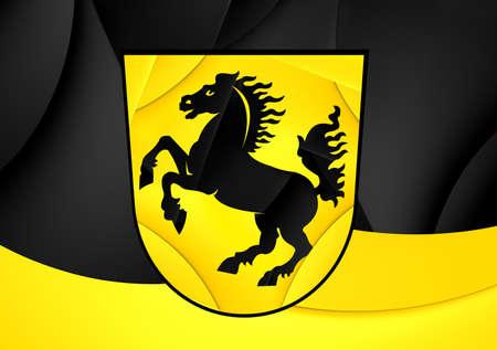 stuttgart: Flag of Stuttgart, Germany. Close Up. Stock Photo