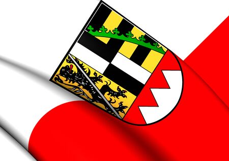 upper: Flag of Upper Franconia, Germany. Close Up.