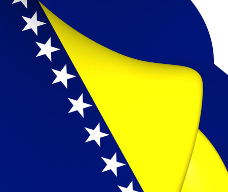 hercegovina: Flag of Bosnia and Herzegovina. Close Up.