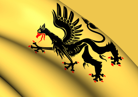 sverige: Flag of Sodermanland County, Sweden. Close Up.