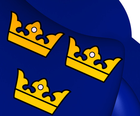 realm: Three Crowns. National Emblem of Sweden. Stock Photo