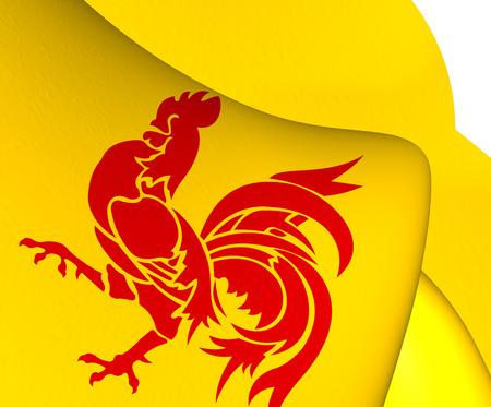 wallonie: Flag of Wallonia. Close Up.