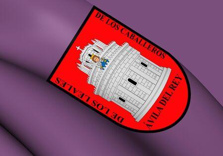 castilla: Flag of Avila City, Spain. Close Up.