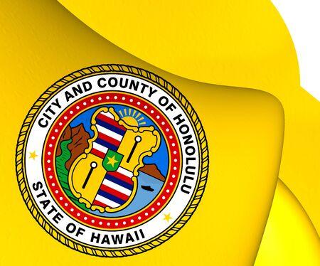 honolulu: Flag of Honolulu, USA. Close Up.