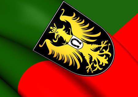 allgau: Flag of Isny im Allgau, Germany. Close Up. Stock Photo