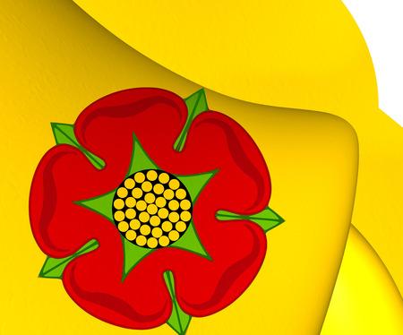 lancashire: Flag of Lancashire, England. Close Up.