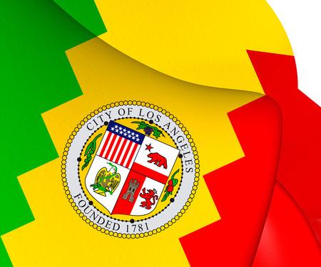 los: Flag of Los Angeles, USA. Close Up.