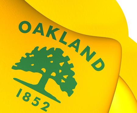 oakland: Flag of Oakland, USA. Close Up.