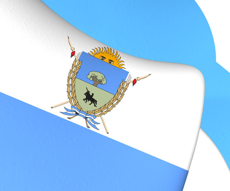 winds: La Pampa Province Flag, Argentina. Close Up.