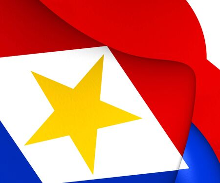 saba: Flag of Saba. Close Up. Stock Photo