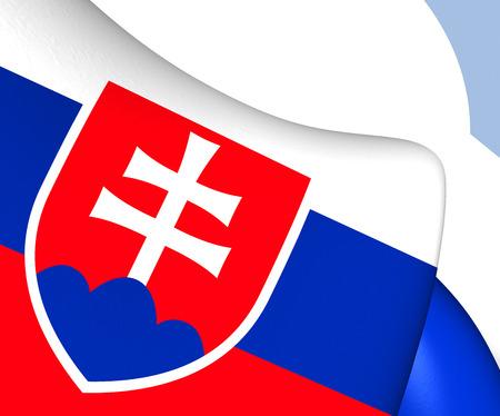 slovakia: Flag of Slovakia. Close Up.