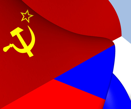 Flag of the Soviet Union and Russia. Close Up. Stock Photo