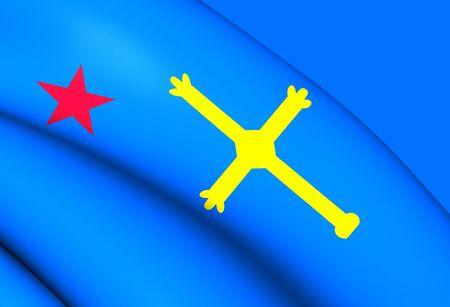 spainish: Andecha Astur Flag. Close Up.