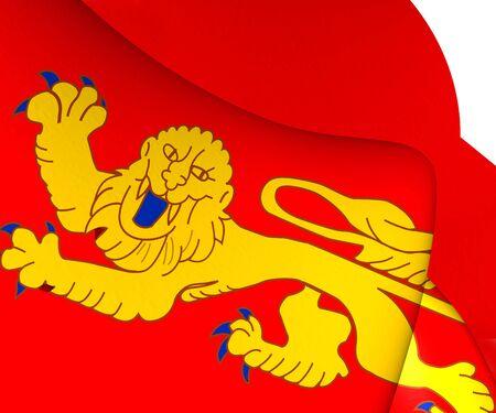 aquitaine: Flag of Aquitaine, France. Close Up. Stock Photo