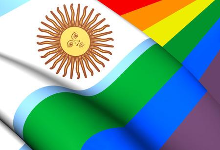 bandera gay: Bandera Gay Argentina. Acercamiento.
