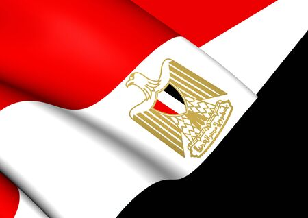 northern african: Flag of Egypt. Close Up. Stock Photo