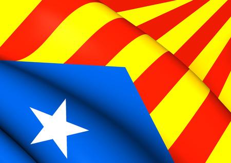 catalonian: Blue Estelada Flag. Close Up.