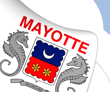 mayotte: Department of Mayotte Flag. Close Up. Stock Photo