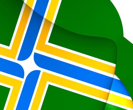 portland: Flag of Portland, USA. Close Up.