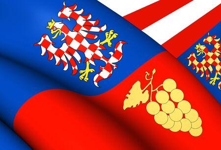 region: Flag of South Moravian Region, Czech Republic. Close Up.