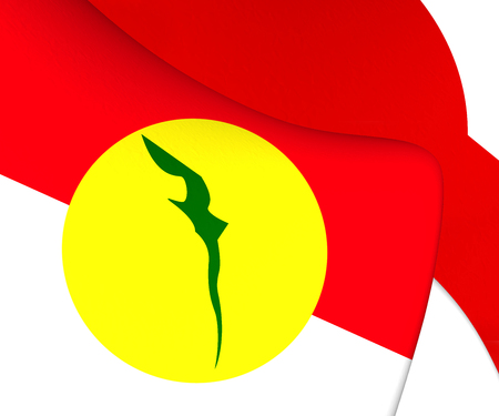 bn: Flag of United Malays National Organisation. Close Up. Stock Photo