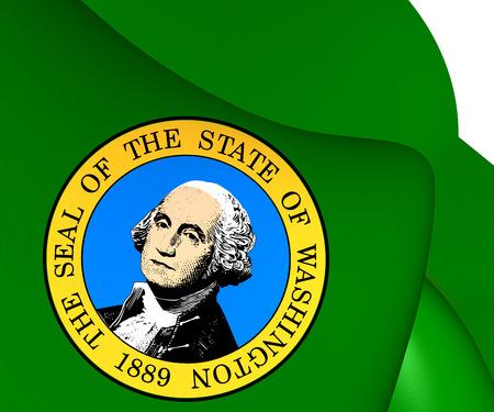 washington state: Flag of Washington State, USA. Close Up.