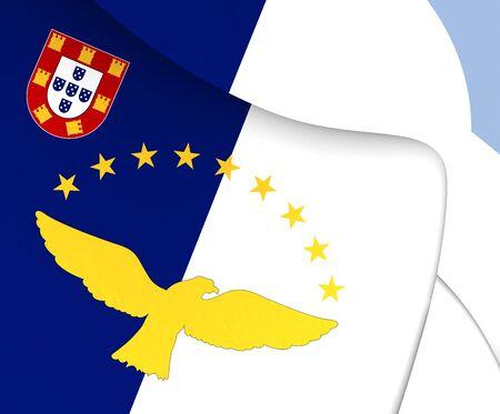 azores: Flag of Azores, Portugal. Close Up.