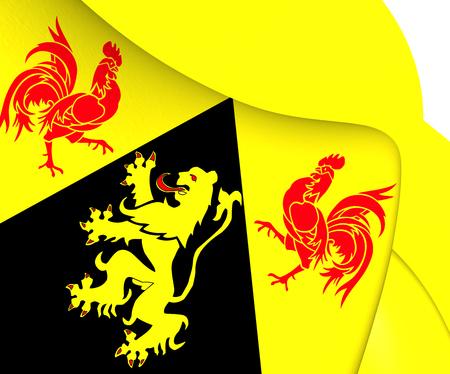 walloon: Flag of Walloon Brabant, Belgium. Close Up.