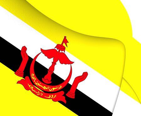 brunei: Flag of Brunei. Close Up.
