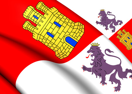 castile: Flag of Castile and Leon, Spain. Close Up.