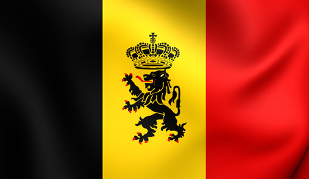 chorąży: Government Ensign of Belgium. Close Up.