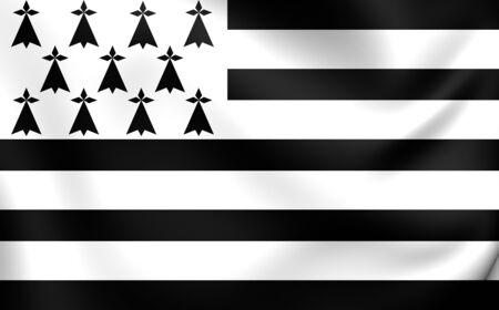 bretagne: Flag of Brittany, France. Close Up.
